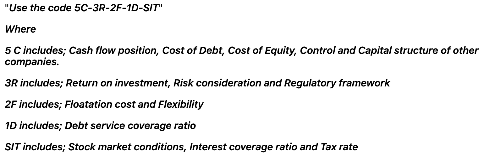Factors affecting the optimal capital structure